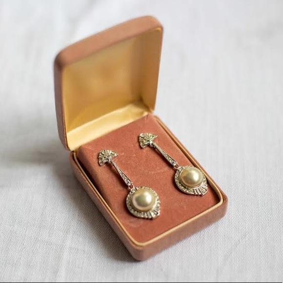 Vintage pearls sterling silver earrings